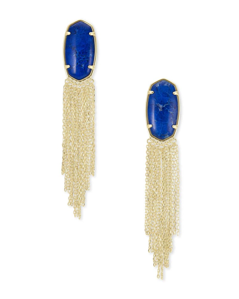 Deanna Gold Drop Earrings in Cobalt Howlite