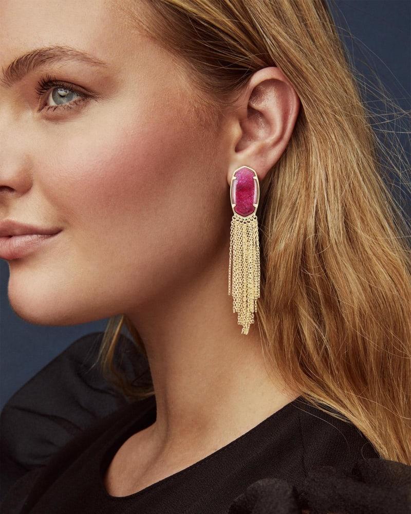 Deanna Gold Drop Earrings in Raspberry Labradorite