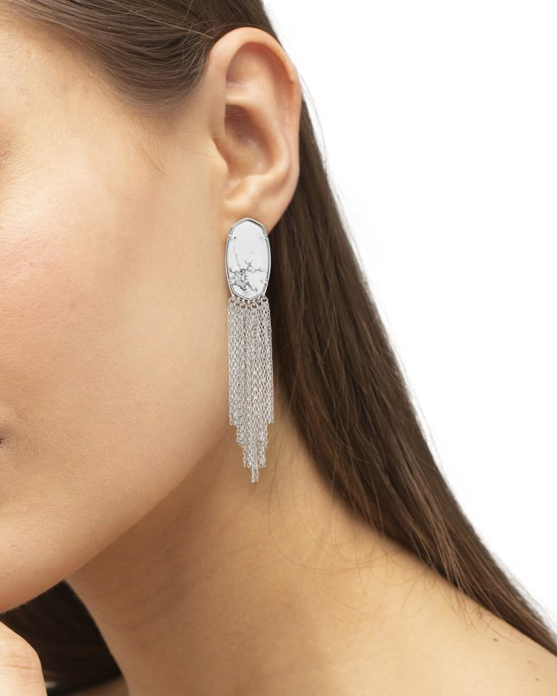 Deanna Silver Drop Earrings in White Howlite