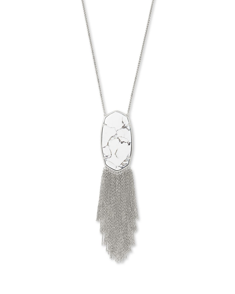 Deanna Silver Long Pendant Necklace in White Howlite
