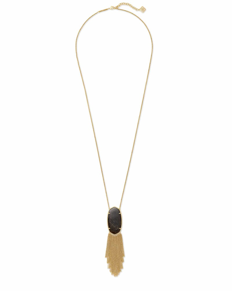 Deanna Vintage Gold Long Pendant Necklace in Golden Obsidian