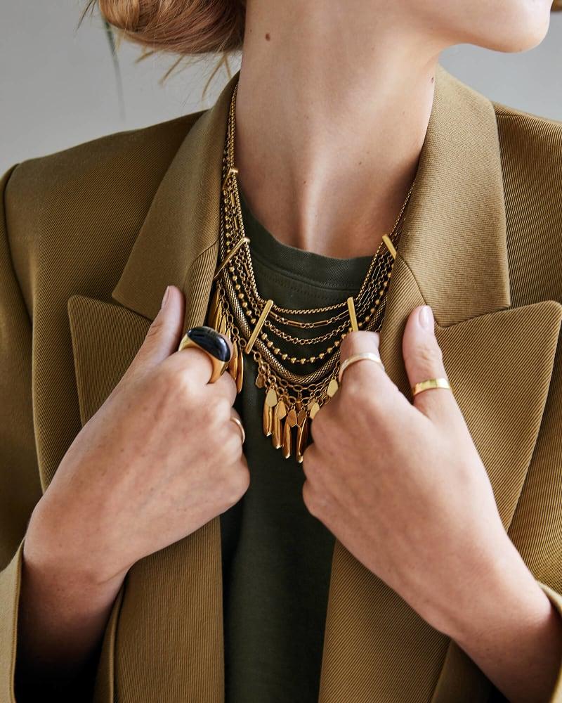 Sydney Statement Necklace in Vintage Gold