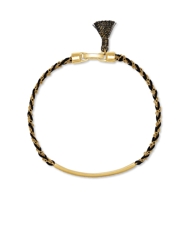 Addison Vintage Gold Friendship Bracelet in Black Cord