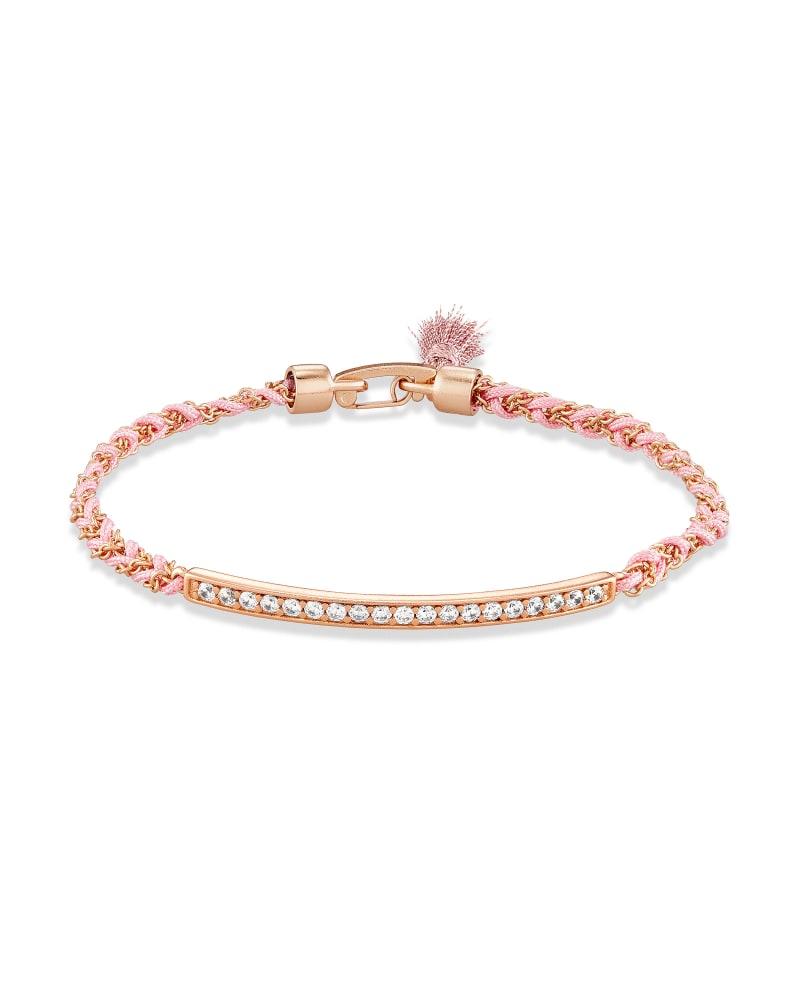 Addison Rose Gold Friendship Bracelet in Pink Cord