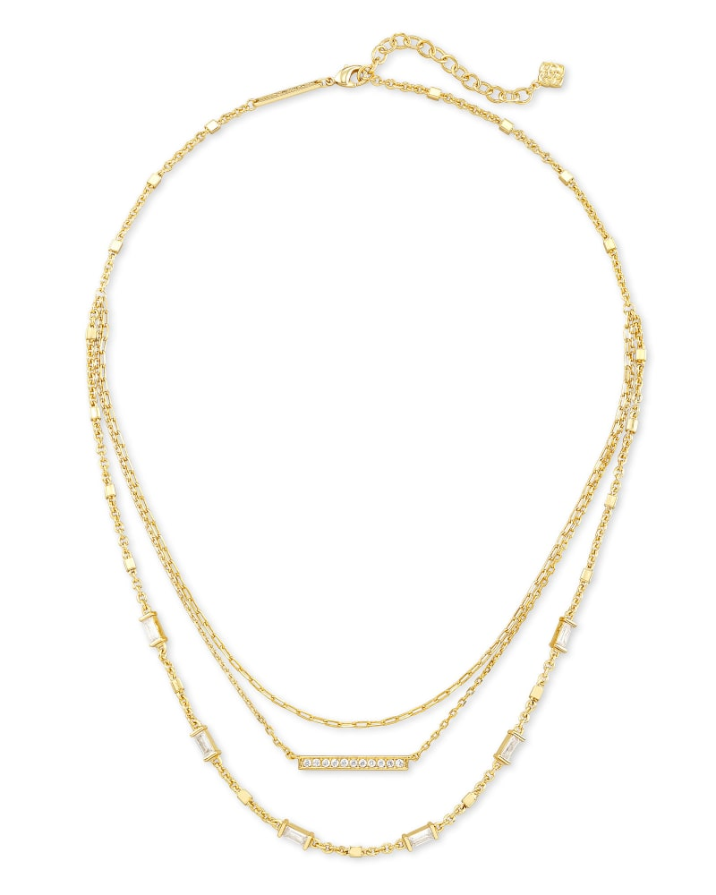 Addison Triple Strand Necklace in Gold