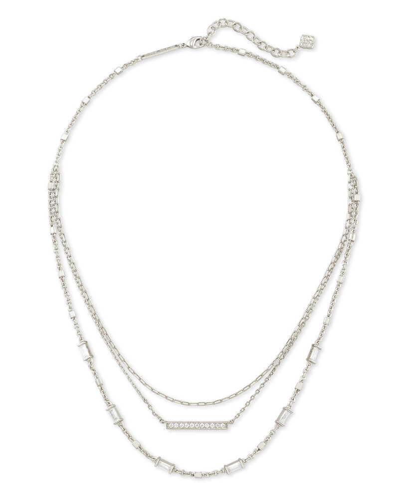 Addison Triple Strand Necklace in Silver