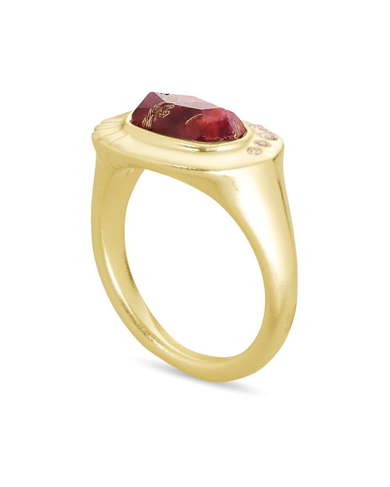 Anna Gold Band Ring in Bronze Veined Maroon Jade