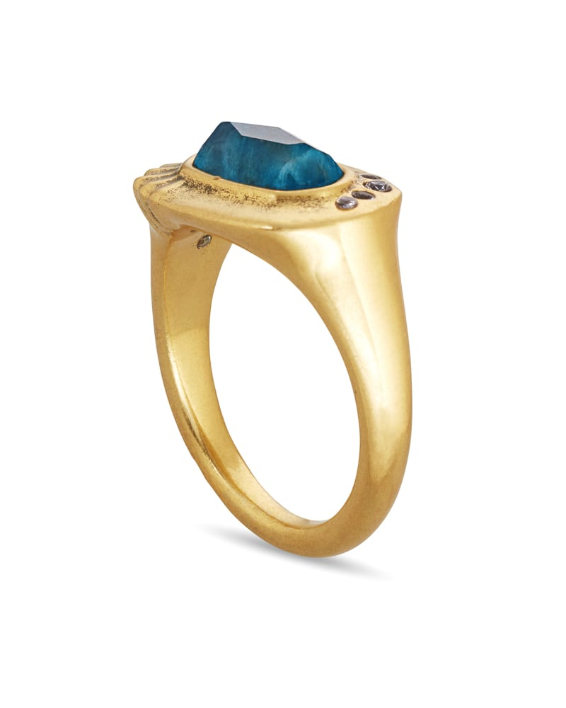Anna Vintage Gold Band Ring in Teal Apatite