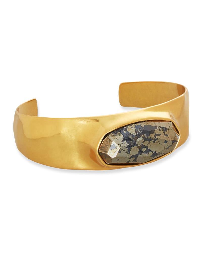 Anna Vintage Gold Statement Bracelet in Black Pyrite