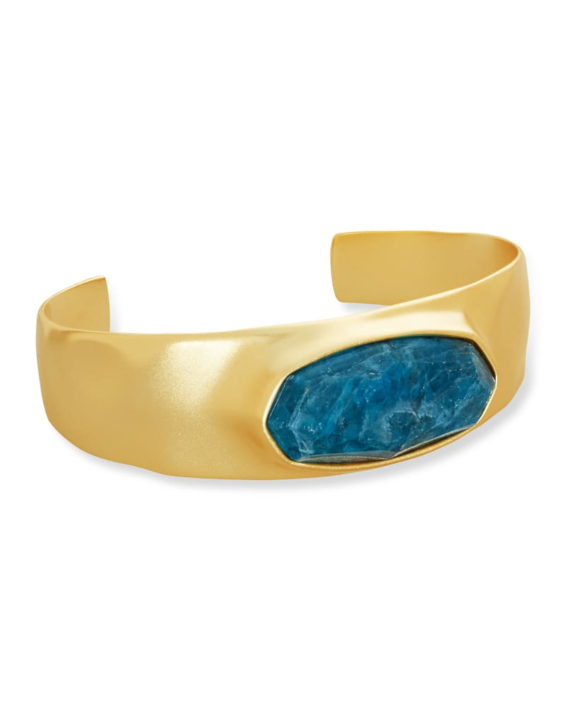 Anna Vintage Gold Statement Bracelet in Teal Apatite