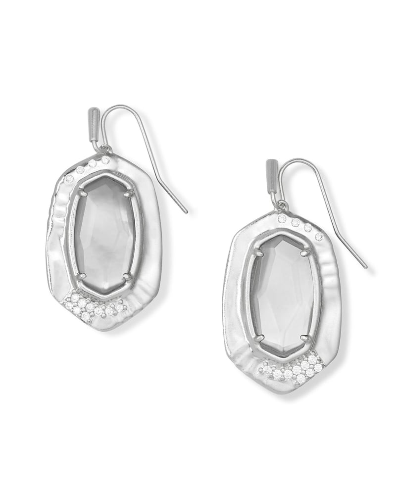 Anna Silver Drop Earrings in Gray Illusion