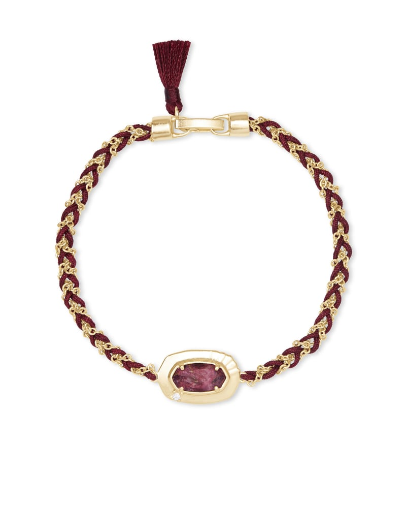 Anna Gold Friendship Bracelet in Bronze Veined Maroon Jade