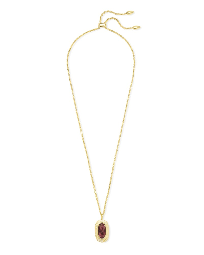 Anna Gold Long Pendant Necklace in Bronze Veined Maroon Jade