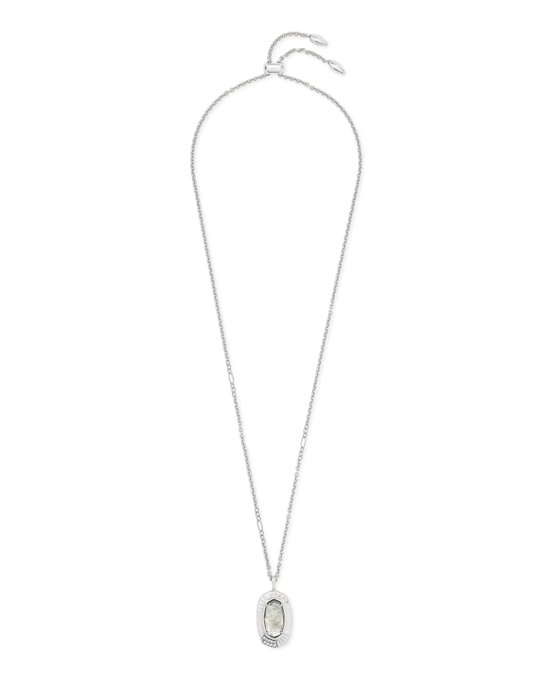 Anna Silver Long Pendant Necklace in Gray Illusion