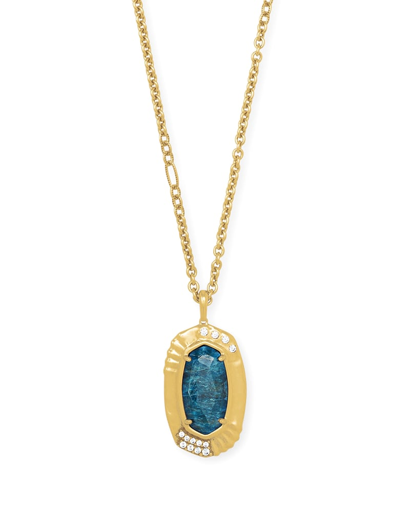 Anna Vintage Gold Long Pendant Necklace in Teal Apatite