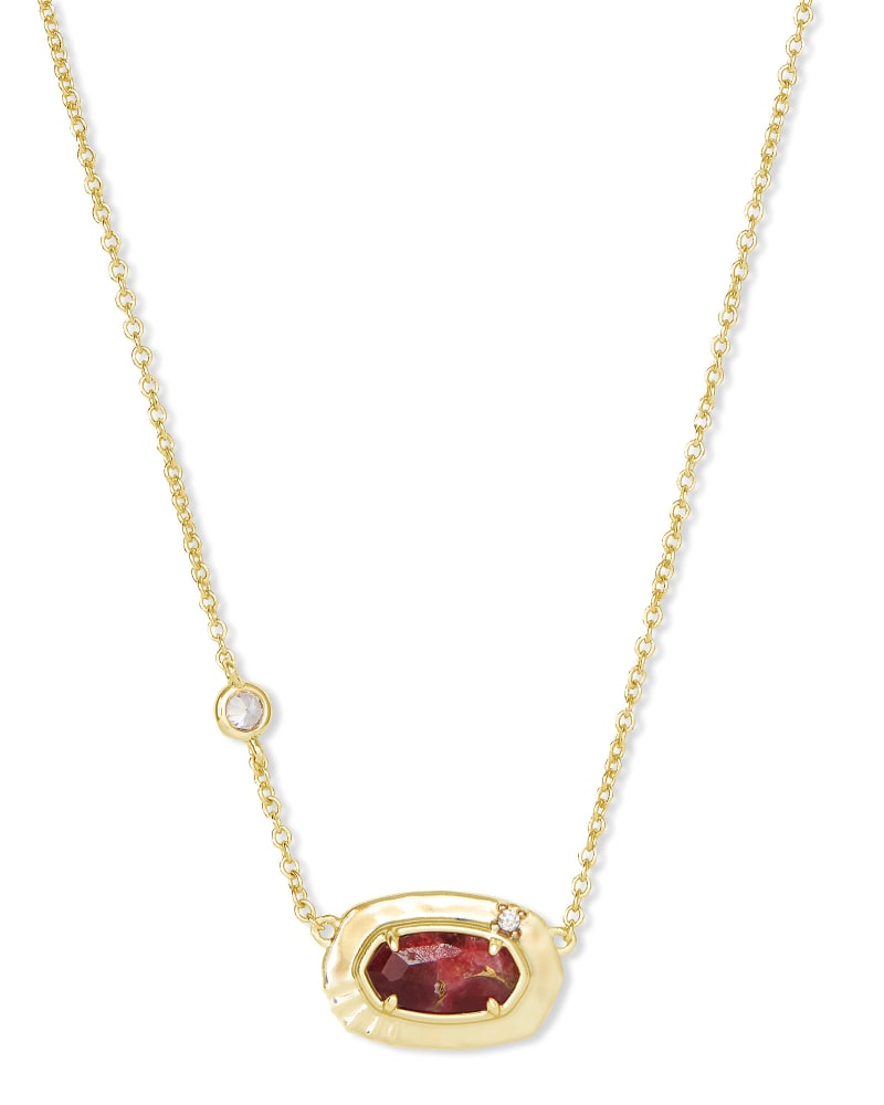 Anna Gold Pendant Necklace in Bronze Veined Maroon Jade