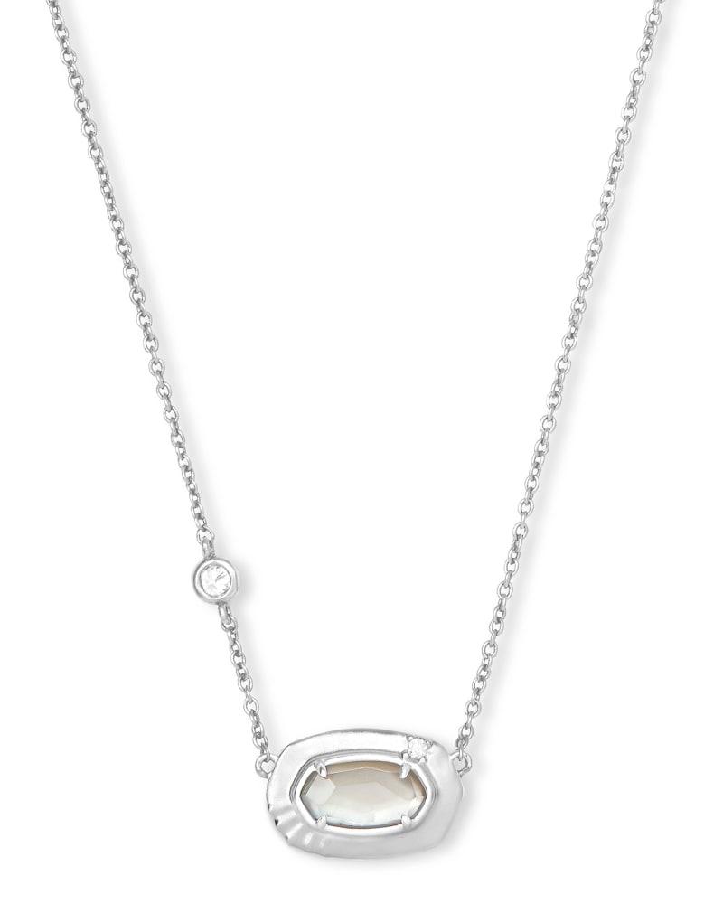 Anna Silver Pendant Necklace in Gray Illusion