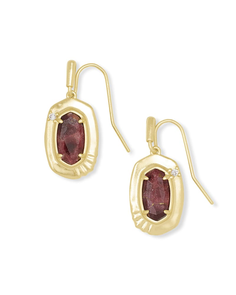 Anna Gold Small Drop Earrings in Bronze Veined Maroon Jade