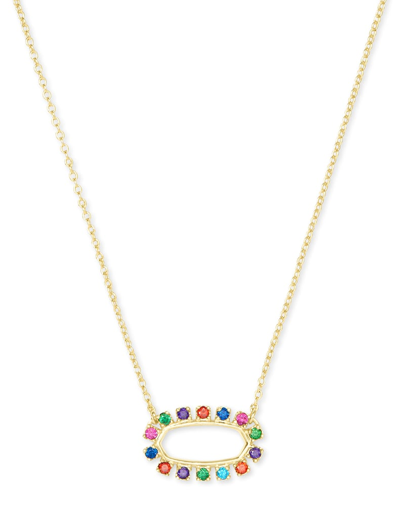 Elisa Gold Open Frame Pendant Necklace in Multi Crystal