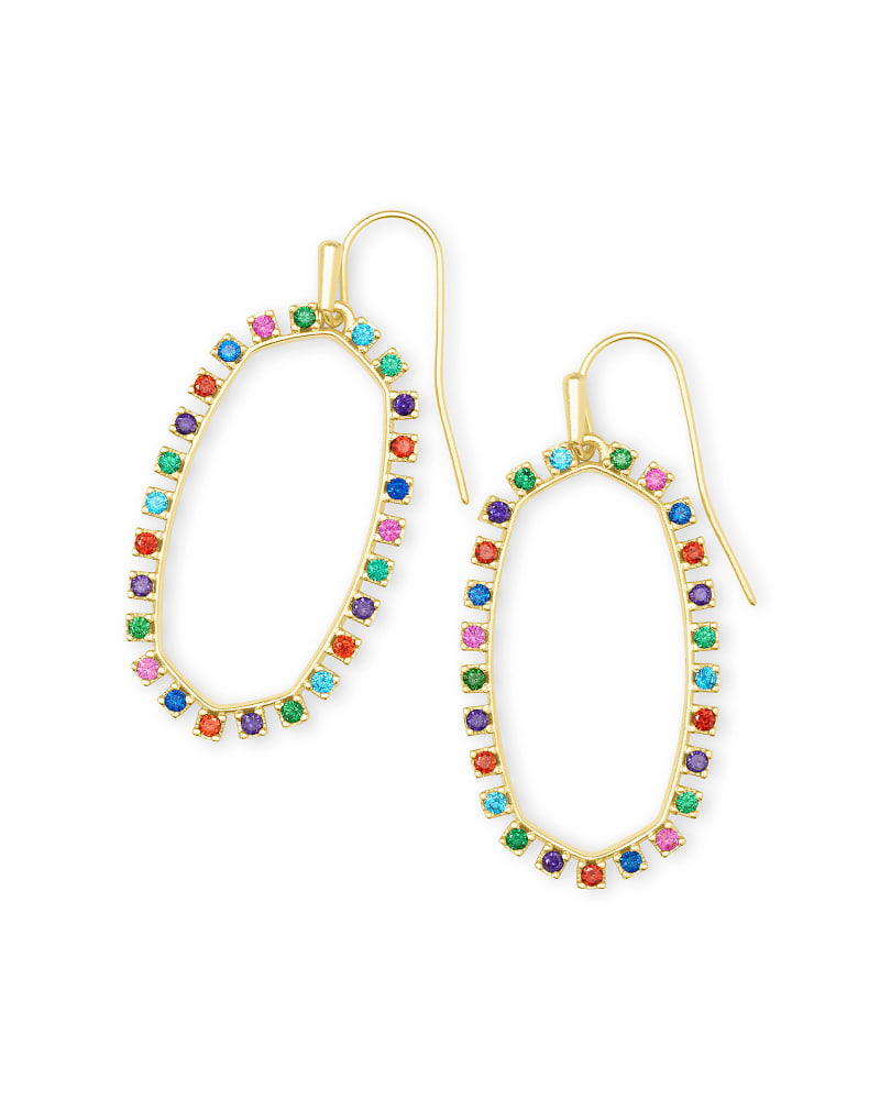 Elle Gold Open Frame Crystal Drop Earrings in Multi Crystal