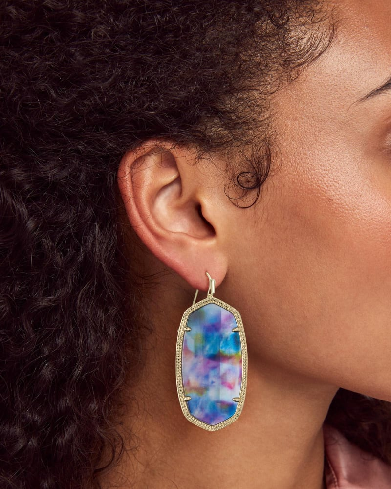 Danielle Gold Statement Earrings in Teal Tie Dye Illusion