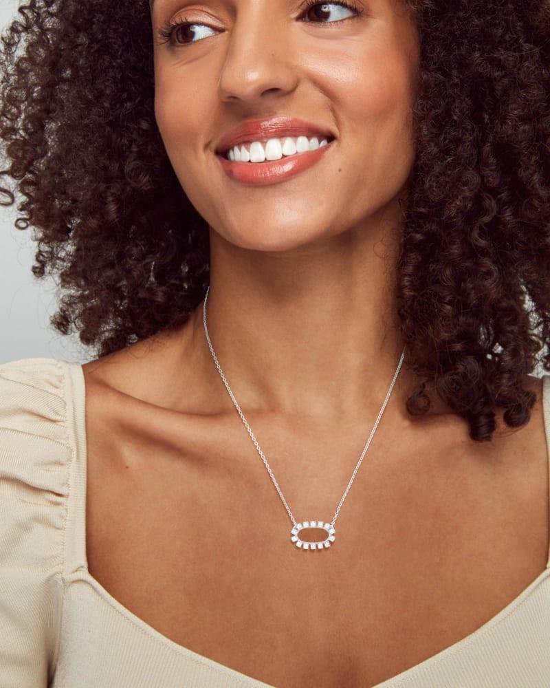 Elisa Open Frame Crystal Pendant Necklace in Silver
