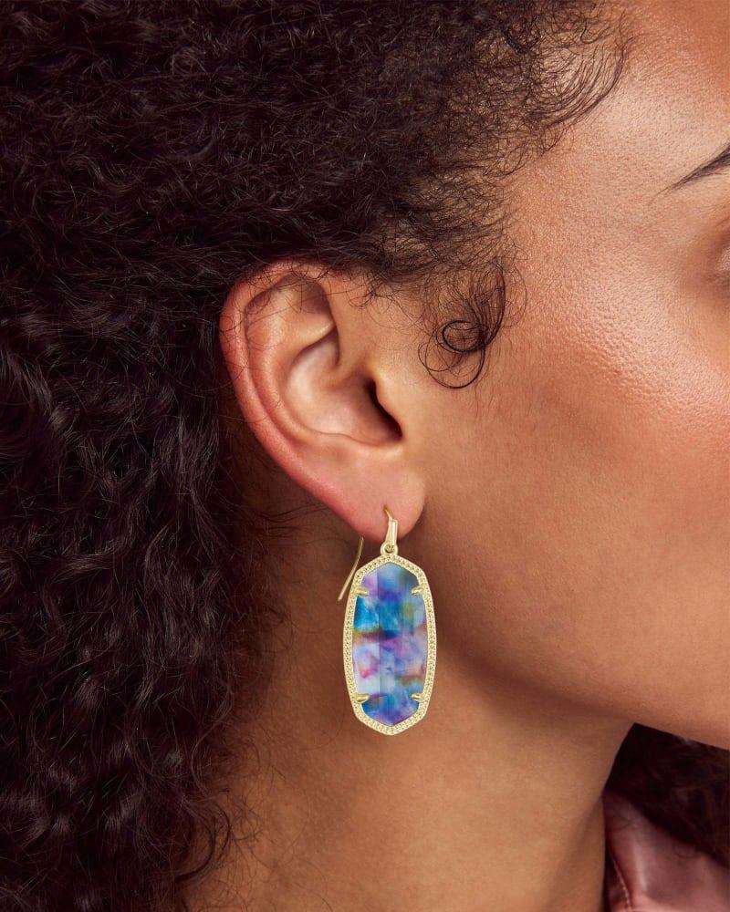 Elle Gold Drop Earrings in Teal Tie Dye Illusion