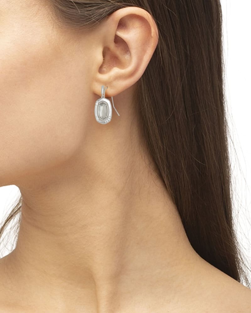Anna Silver Small Drop Earrings in Gray Illusion