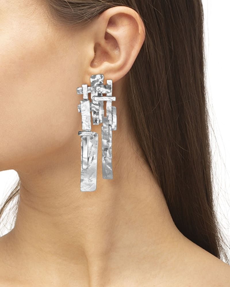 Holland Statement Earrings in Vintage Silver