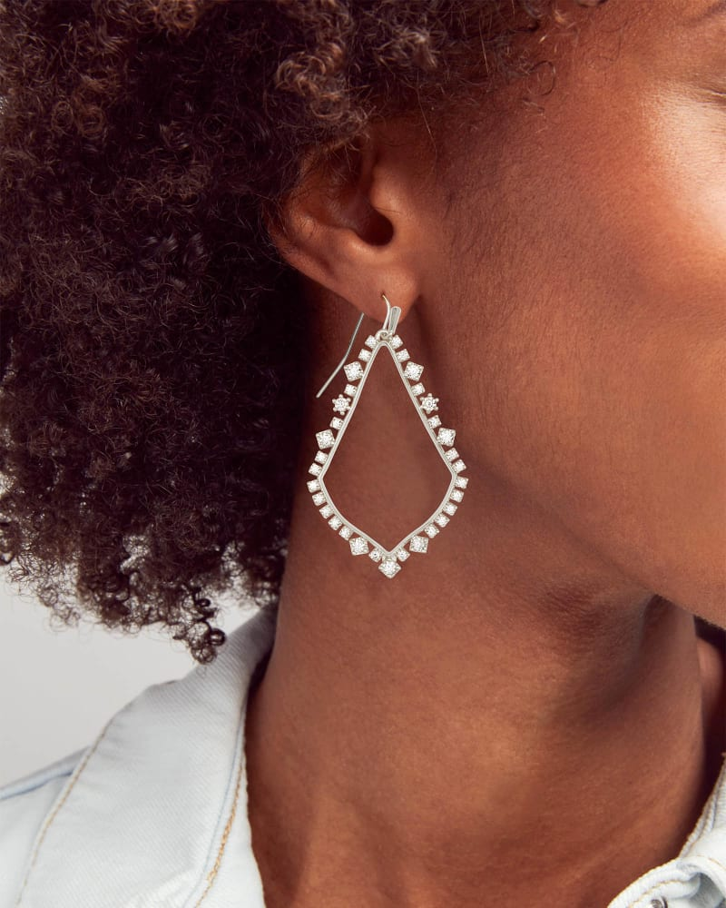 Sophee Crystal Drop Earrings in Silver