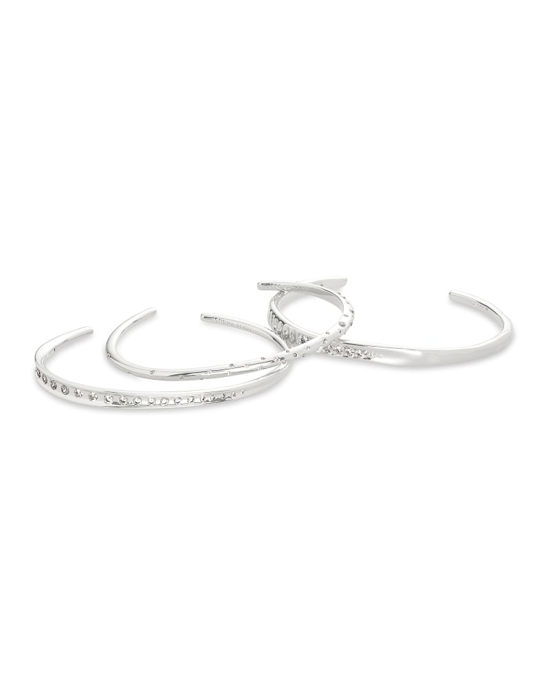 Selena Cuff Bracelet Set of 3 in Silver