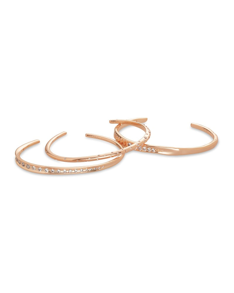 Selena Cuff Bracelet Set of 3 in Rose Gold