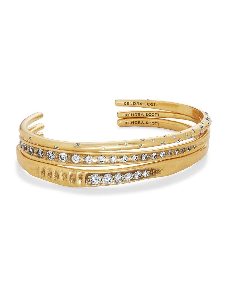 Selena Cuff Bracelet Set of 3 in Vintage Gold   Kendra Scott