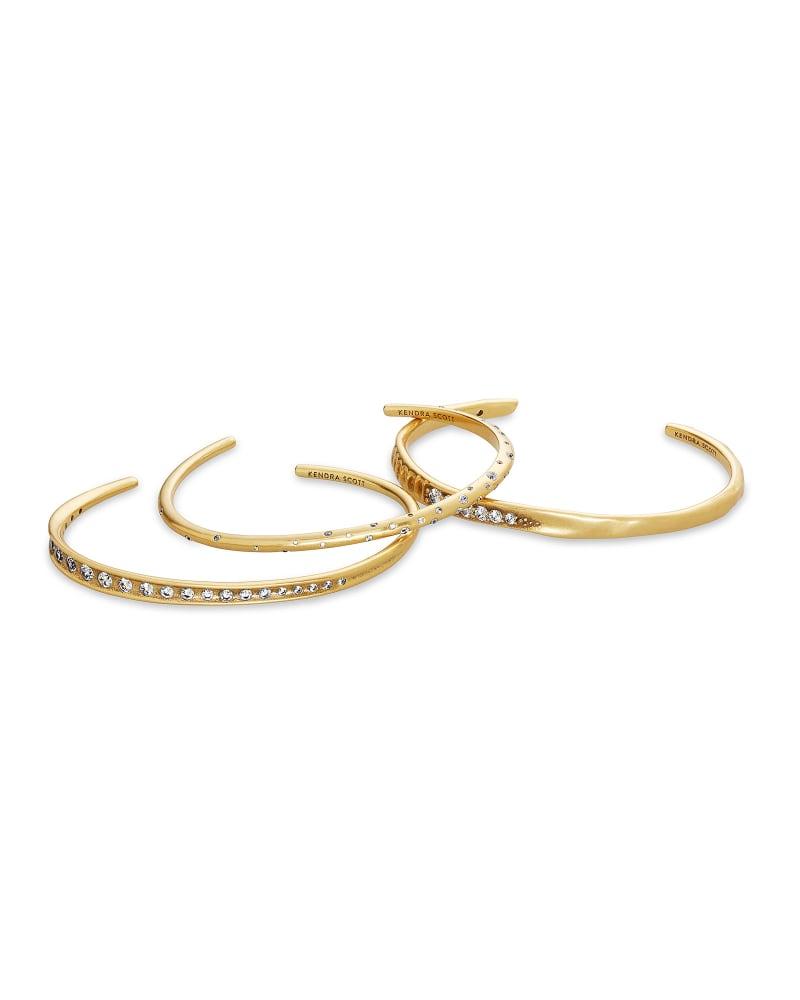 Selena Cuff Bracelet Set of 3 in Vintage Gold