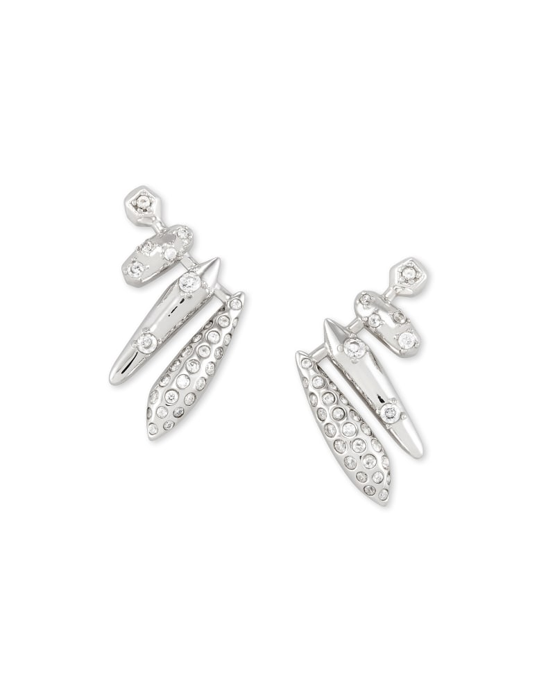 Selena Ear Climber Earrings in Silver