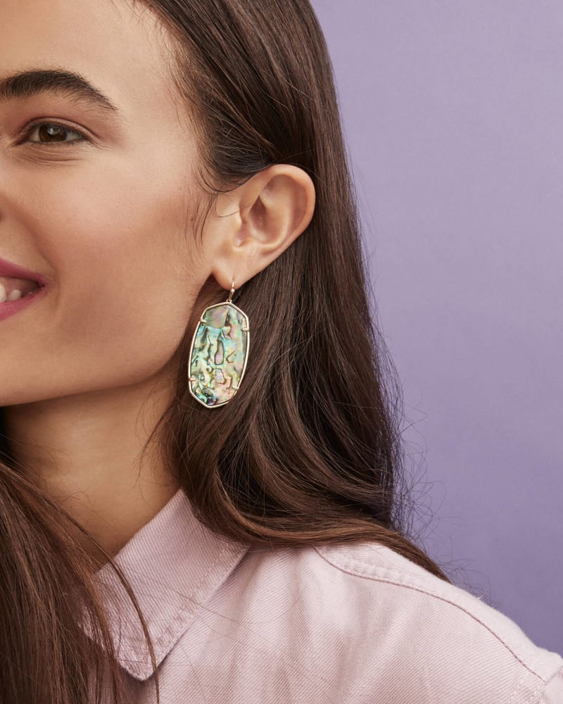 Faceted Danielle Gold Statement Earrings in Abalone