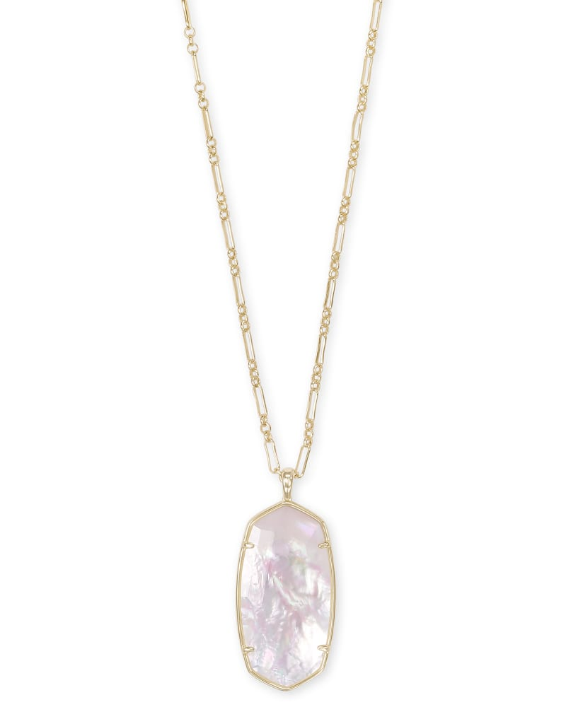 Faceted Reid Gold Long Pendant Necklace in Ivory Mother-of-Pearl