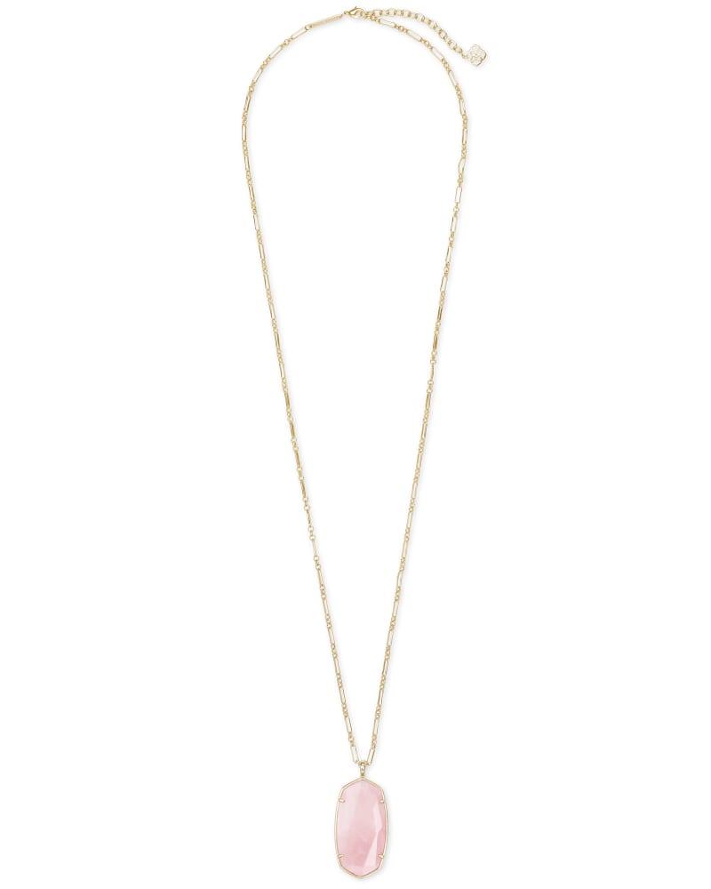Faceted Reid Gold Long Pendant Necklace in Rose Quartz
