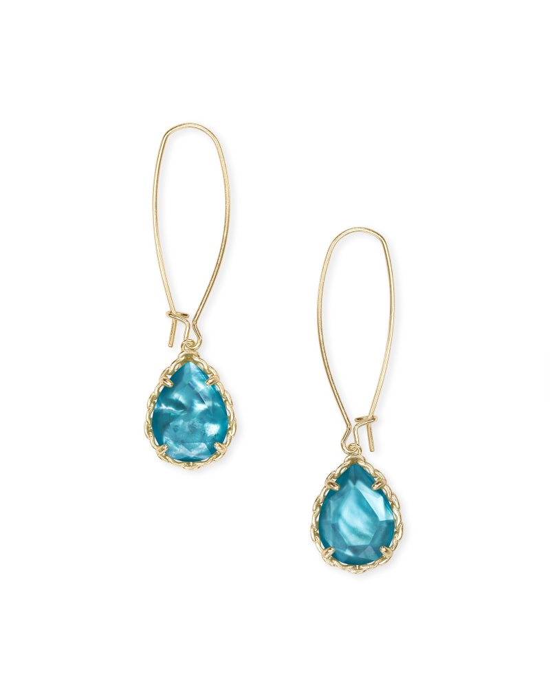 Macrame Dee Gold Drop Earrings in Aqua Illusion