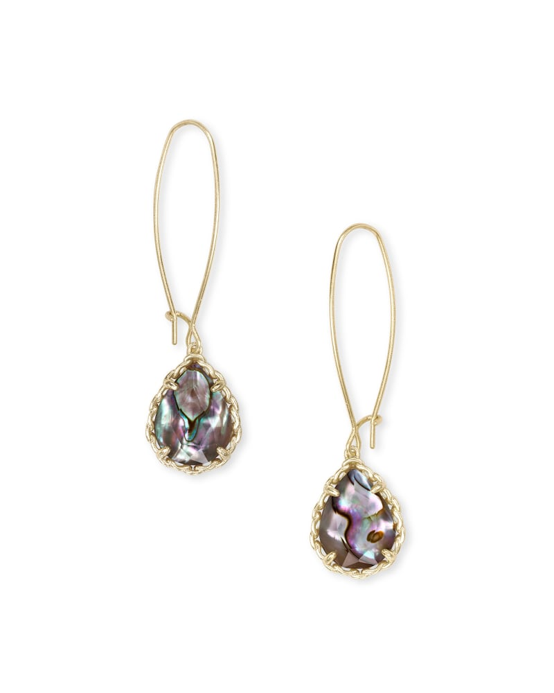Macrame Dee Gold Drop Earrings in Nude Abalone