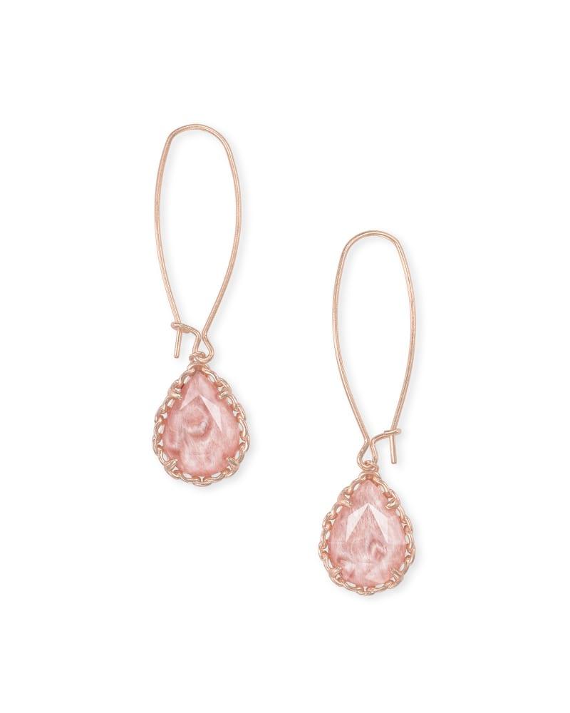 Macrame Dee Rose Gold Drop Earrings in Blush Wood