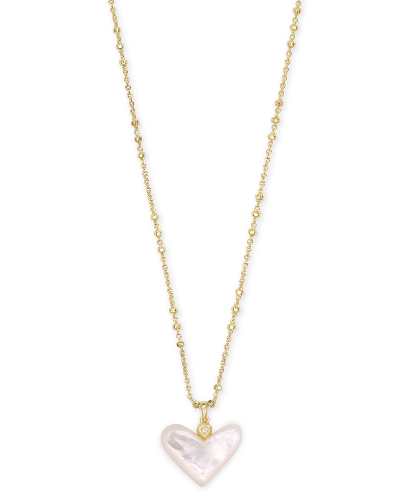 Poppy Heart Gold Pendant Necklace in Ivory Mother-of-Pearl
