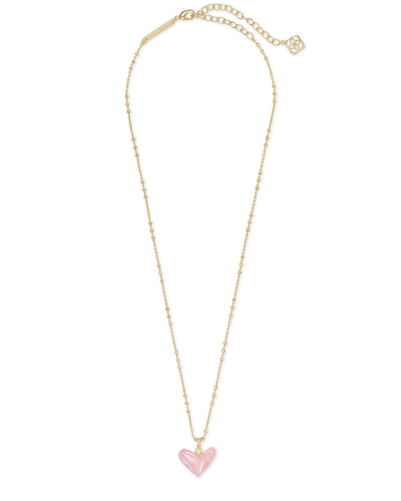 Poppy Heart Gold Pendant Necklace in Rose Quartz