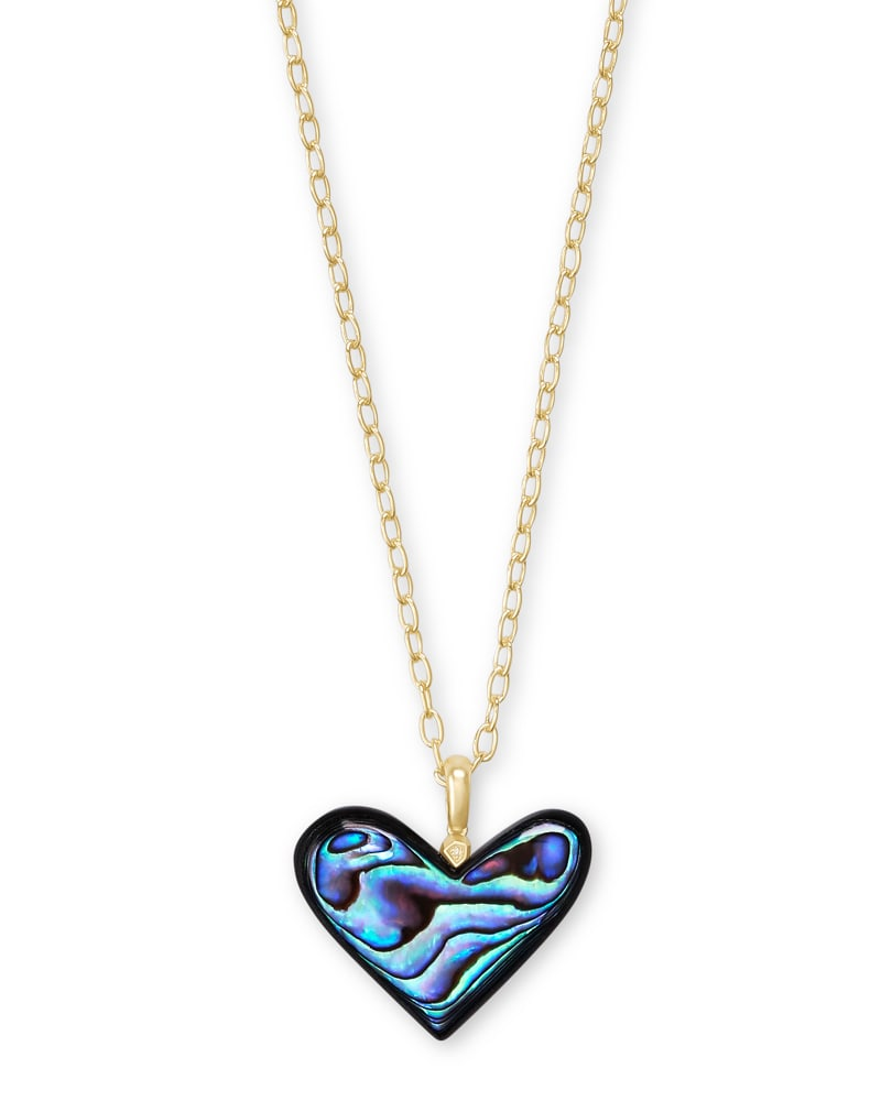 Poppy Heart Gold Long Pendant Necklace in Abalone