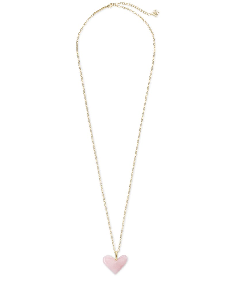 Poppy Heart Gold Long Pendant Necklace in Rose Quartz