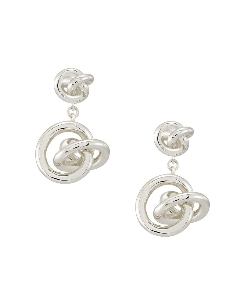 Presleigh Love Knot Drop Earrings in Bright Silver
