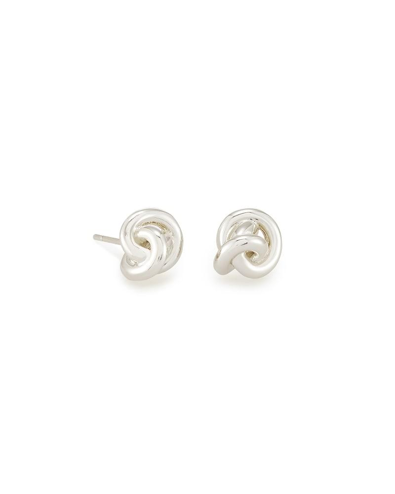 Presleigh Love Knot Stud Earrings in Bright Silver