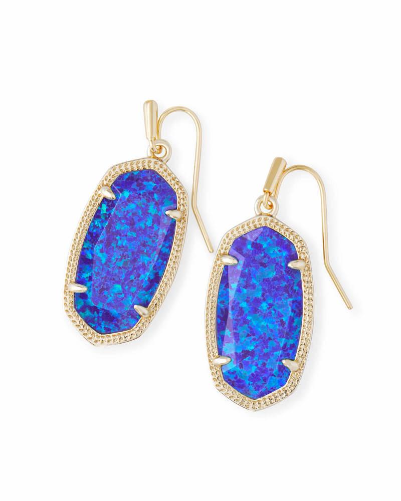 Dani Gold Drop Earrings In Violet Kyocera Opal