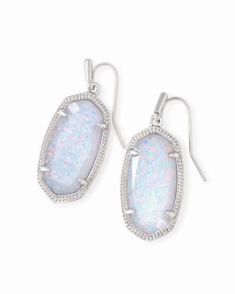 Dani Silver Drop Earrings In White Kyocera Opal