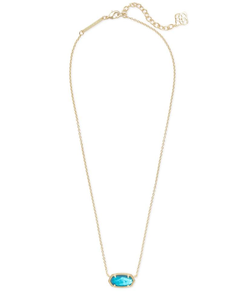 Elisa Gold Short Pendant Necklace In Aqua Illusion